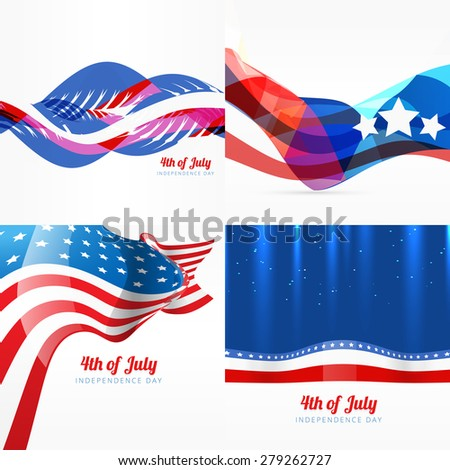 vector set of american independence day background illustration