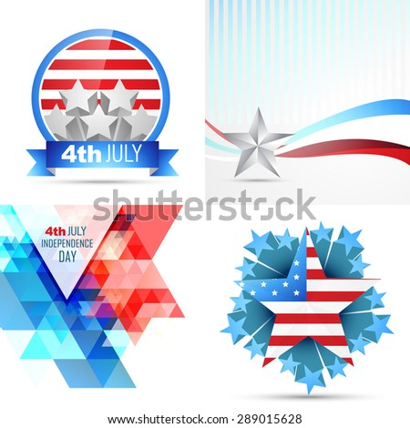vector set of american independence day flag design illustration with creative pattern  - stock vector