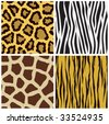 vector set of animal fur seamless pattern - stock vector