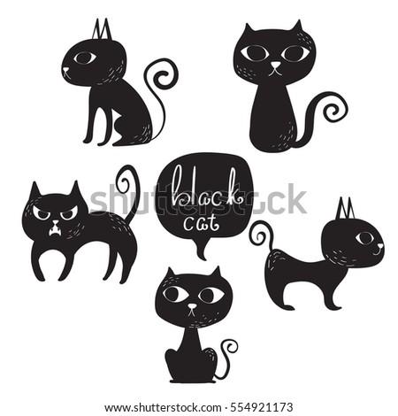 Vector Set Animal Illustrationblack Cat Different Stock Vector