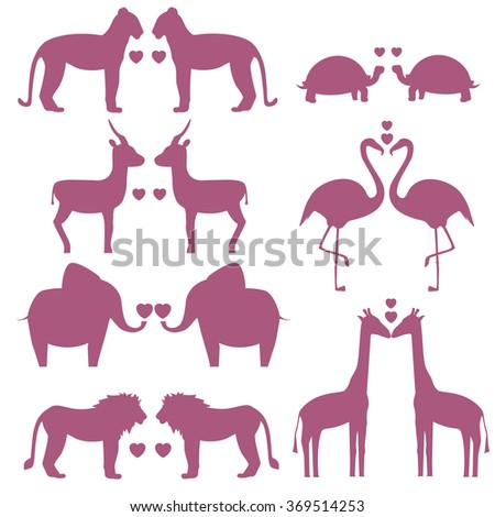 Vector set of animals couple with heart including giraffe, turtle, elephant, lion, leopard, flamingo, gazelle, silhouette