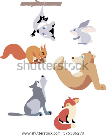 Vector set of animals isolated on white background. - stock vector
