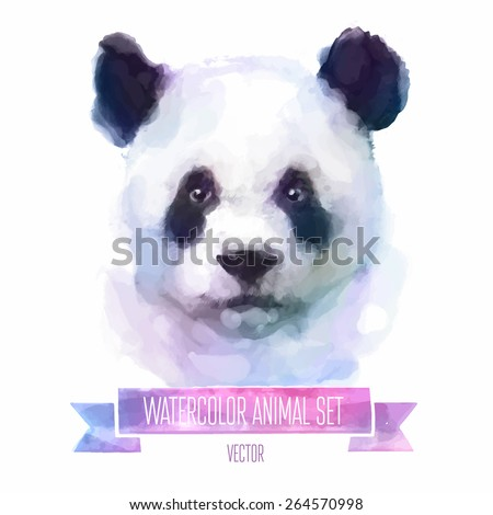 Vector set of animals. Panda hand painted watercolor illustration isolated on white background - stock vector