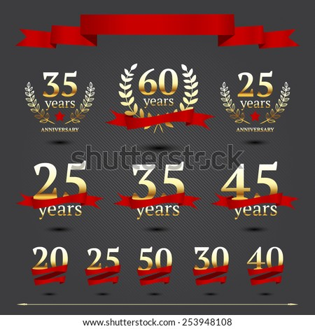 Vector set of anniversary elements - stock vector