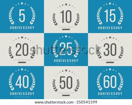Vector Set Anniversary Signs Symbols Five Stock Vector 350541599