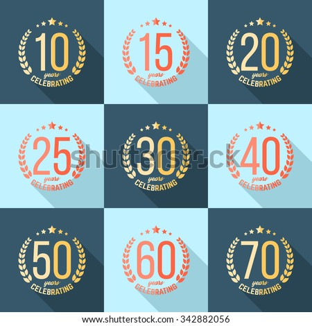 Vector Set Anniversary Signs Symbols Ten Stock Vector 342882056