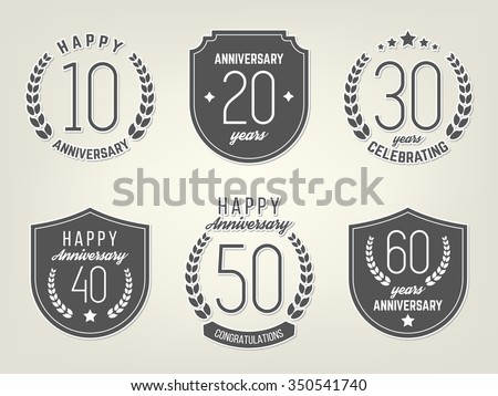 Vector Set Anniversary Signs Symbols Ten Stock Photo Photo Vector