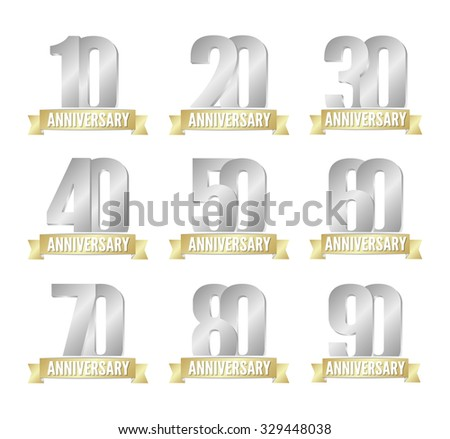 Vector set of anniversary silver signs - stock vector