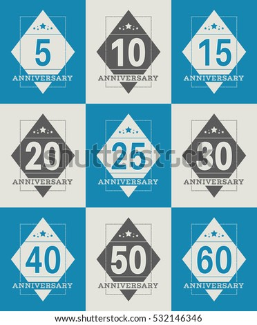 Vector Set Anniversary Symbols 5th 10th Stock Vector 532146346