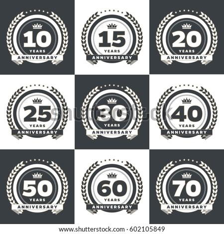 Vector Set Anniversary Symbols 10th 15th Stock Vector 602105849