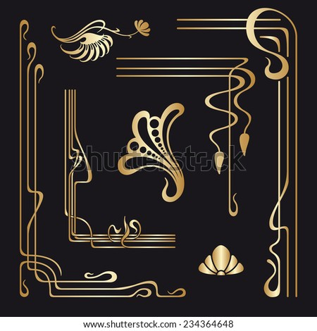 Vector set of art nouveau decorative elements for design, print, embroidery. - stock vector