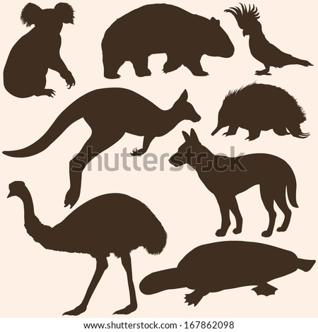 vector set of Australian animals silhouettes - stock vector