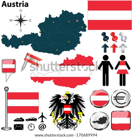 Vector set of Austria country shape with flags, buttons and icons isolated on white background