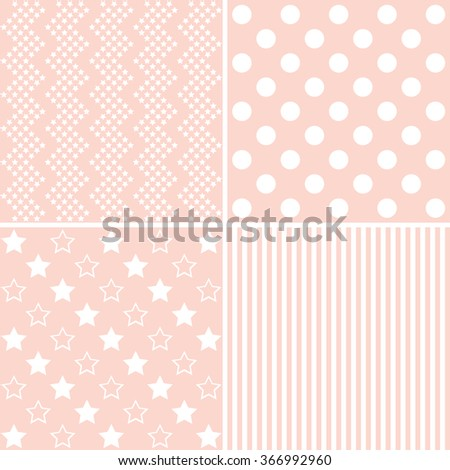 Vector set of 4 background patterns in light pink.  - stock vector