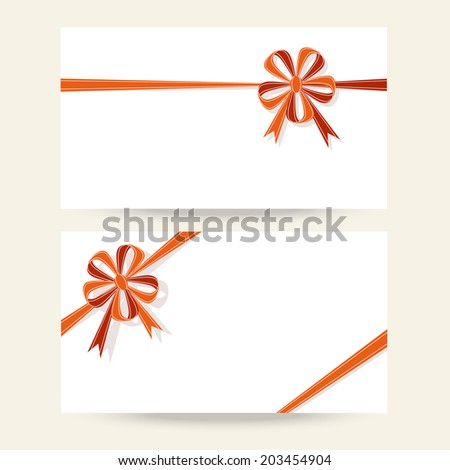 Vector set of background with flower bow. Template for greeting, invitation, discount card for print, web - stock vector