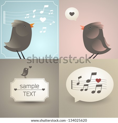 Vector set of backgrounds with birds and notes - stock vector