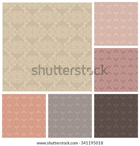 Vector set of backgrounds with seamless ornament