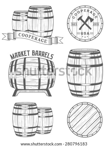 Vector set of badges and logos cooperage workshops. The collection of symbols and emblems on a white background - stock vector