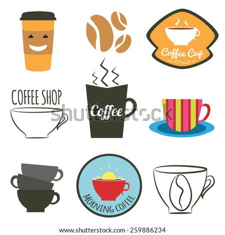 Vector set of badges, logos and labels for coffee shops, cafes and restaurants. Cup of coffee, coffee beans and coffee to go - stock vector