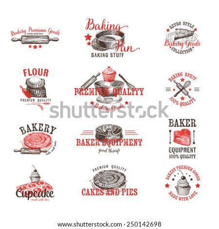 Vector set of bakery logos, labels, badges and design elements. Retro.Vintage.
