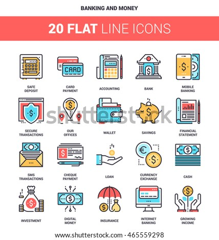 Vector set of banking and money flat line web icons. Each icon with adjustable strokes neatly designed on pixel perfect 64X64 size grid. Fully editable and easy to use.