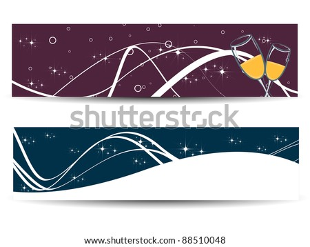 vector set of banner for new year - stock vector