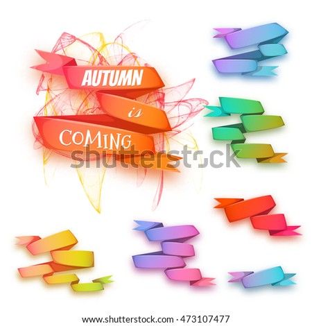 Vector set of banners with ribbon and pattern on background.