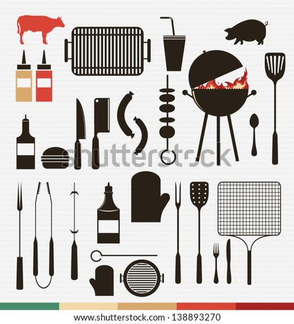 Vector set of barbecue, grill icons - stock vector