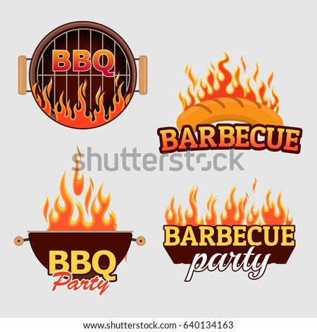 Vector set of barbecue logos and labels. BBQ grill elements.
