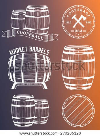 Vector set of barrels in vintage style. Collection barrels on a white background - stock vector. - stock vector