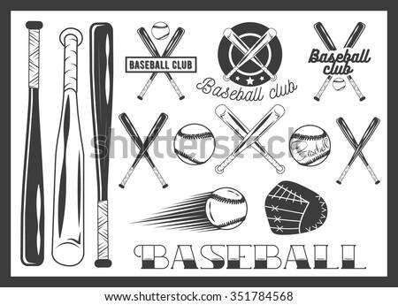 Vector set of baseball club emblem, label, badges, logo and design elements. Sport icons in vintage style. Baseball bat, ball, glove. Crossed bats. - stock vector
