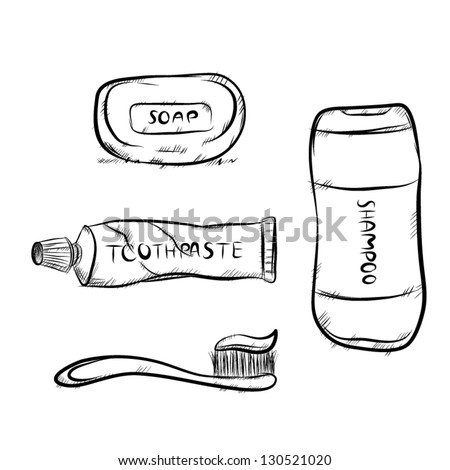 Vector set of bathroom equipment. there are toothbrush, toothpaste, soap and shampoo, sketching image.