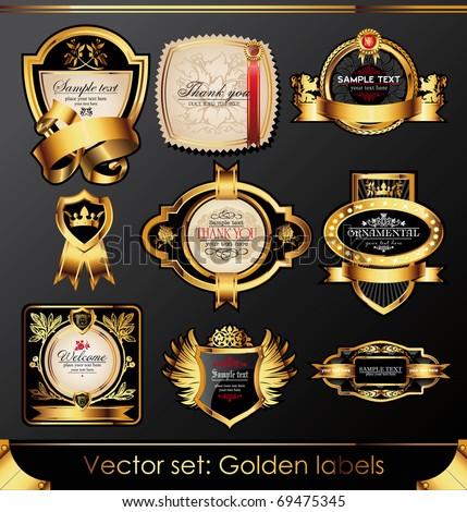 Vector set of beautiful black gold-framed labels - stock vector