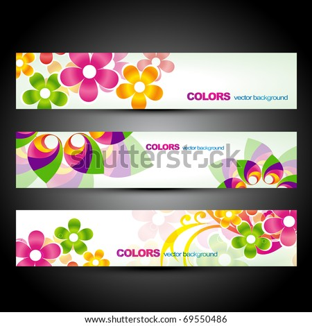 vector set of beautiful colorful flower headers