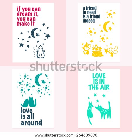 Vector set of beautiful hand drawn cards templates. Text message, lettering, gift. Congratulations, best regards, post card design. - stock vector