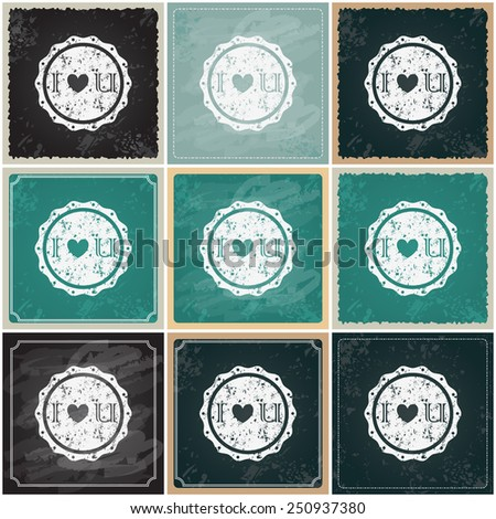 Vector set of beautiful hipster romantic Valentine's Day cards drawn on blackboard with typography illustrations - stock vector