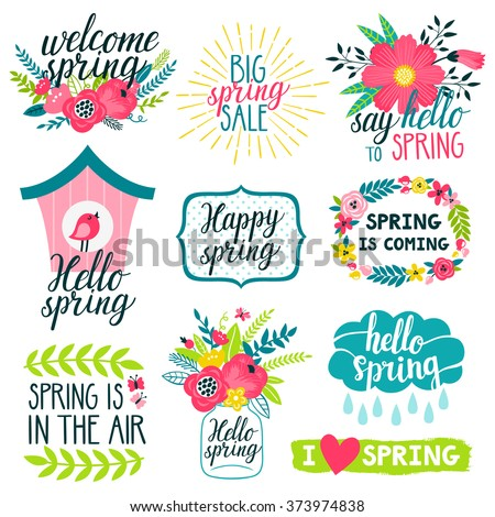 Vector set of beautiful labels with hand written phrases about spring, flowers, frames, wreathes, bird house, mason jar with bouquet, cloud and raindrops. All elements are isolated on white. - stock vector