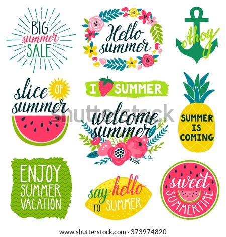 Vector set of beautiful labels with hand written phrases about summer, flowers, frames, wreathes, pineapple, slice of water melon, lemon, bright brush strokes. All elements are isolated on white. - stock vector