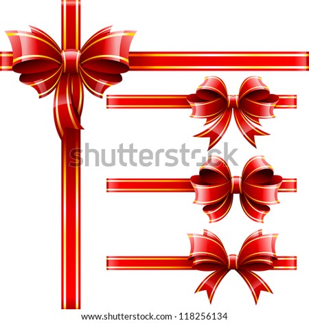 Vector set of beautiful red gift bows. - stock vector