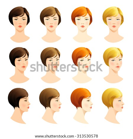 Vector set of beautiful woman face. Various color of bob haircuts. Various turns heads. Face in front. Face in profile. Blond hair, red hair, brown hair, brunette hair,  - stock vector