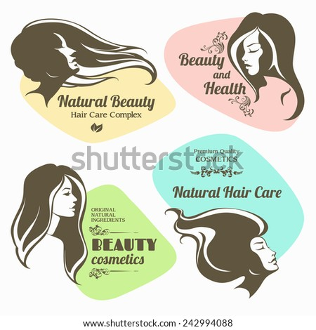 Vector set of beauty, cosmetics labels. Logo girl with long hair - stock vector