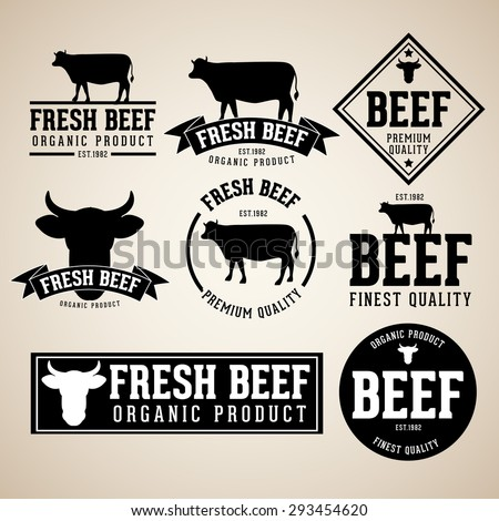 vector set of beef labels, badges and design elements with  vintage paper