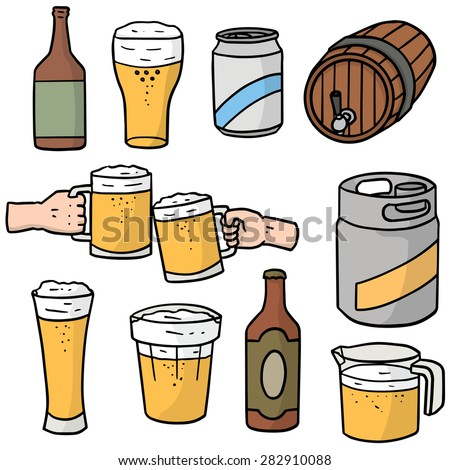 vector set of beers - stock vector