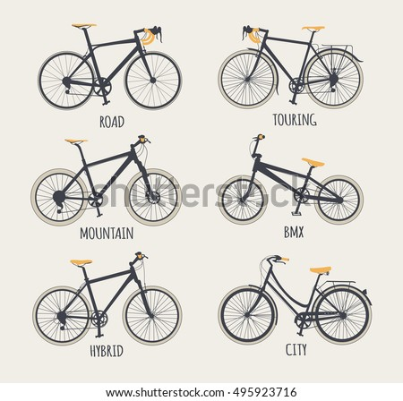 Vector Set Bicycles Flat Style Guide Stock Photo (Photo, Vector ...
