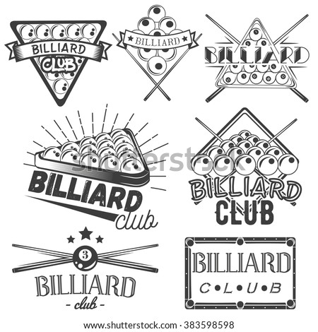 Vector set of billiard labels in vintage style. Sport concept. Billiard cue and balls. Design elements, retro emblems and icons isolated on white background.  - stock vector