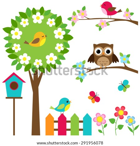 Vector set of birds, flowers and butterflies - stock vector