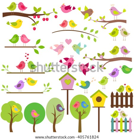 Vector set of birds. Spring nature, blooming trees, different birds, love birds, birdhouses and fences.