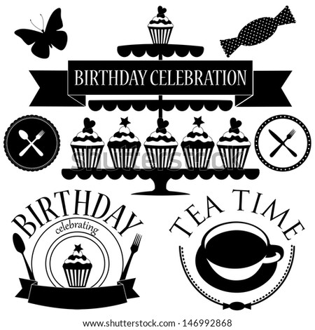 Vector set of birthday icons isolated on white - stock vector