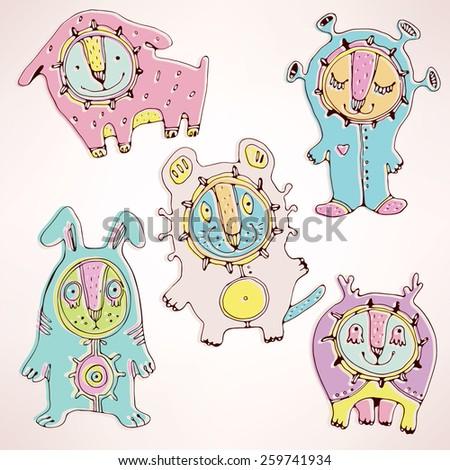 Vector set of bizarre animals - stock vector