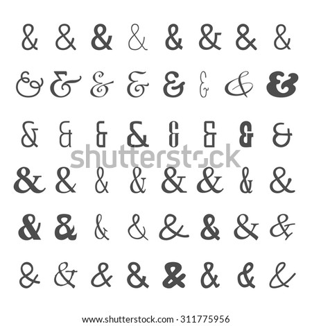 Vector Set Black Ampersands Icons On Stock Vector 311775956